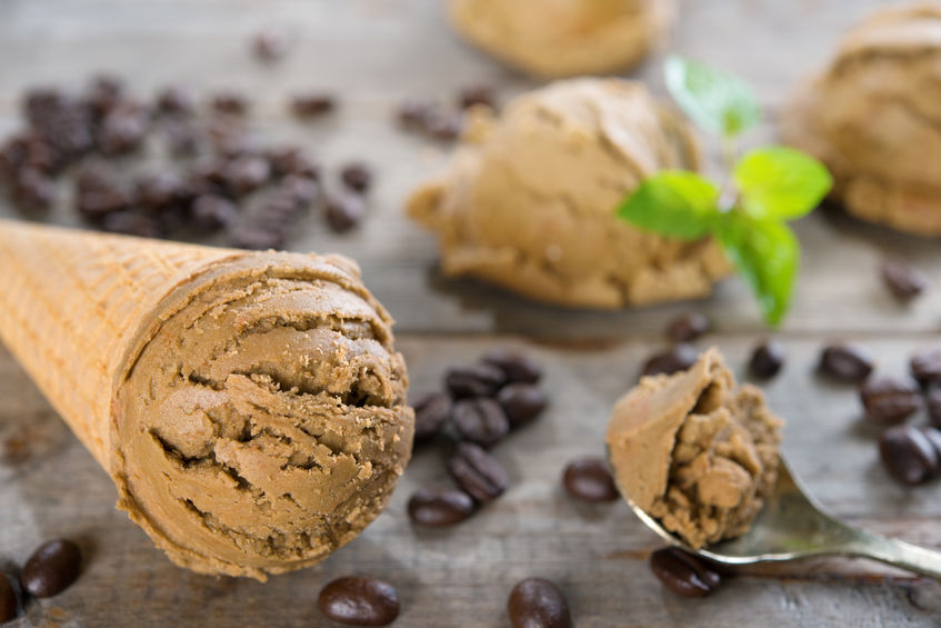 A photo of ice cream scoops made of coffee