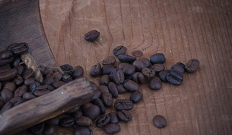 A photo of coffee beans on a table