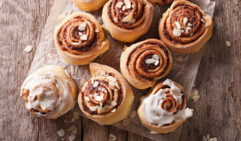 Black and White Sweet Rolls with Cold Brew Coffee